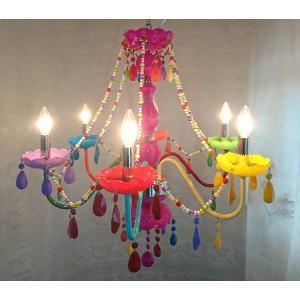 【期間限定特価】シャンデリア LED対応 ポップ調カラフルシャンデリア 6灯 華 送料無料 |kokoroes