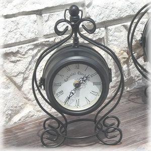 時計 ヨーロッパアンティーク スタンド型両面♪ クロック(L)ブラック|kokoroes