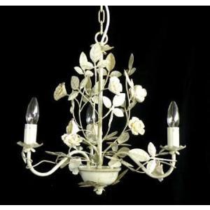 アイアンシャンデリア3灯 ゴールドローズ 送料無料 LED対応 お姫様 姫系 ロマンチック ロマンティック|kokoroes