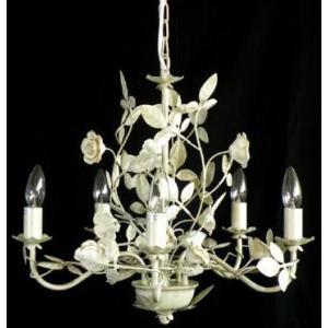 アイアンシャンデリア5灯 ゴールドローズ 送料無料 LED対応 お姫様 姫系 ロマンチック ロマンティック|kokoroes