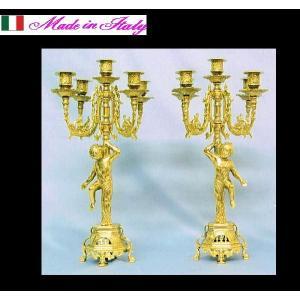 イタリア製ブラス エンジェルのキャンドルスタンド キャンドルホルダー5灯 2点セット|kokoroes