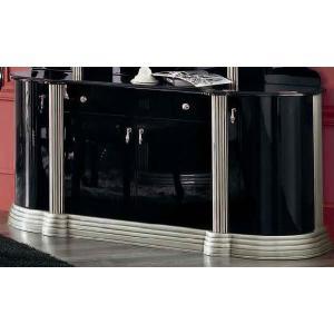 イタリア製家具 サイドボード コレクションボード ショーケース シルバーブラック 家具 収納|kokoroes