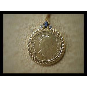 ペンダント エリザベス2世女王!コインネックレス!18金コーティング!天然石付03【メール便可】|kokoroes