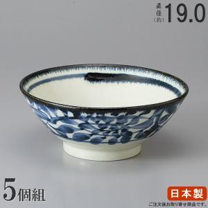 そば どんぶり 日本製   5枚組  藍唐草そば丼ぶり6.5...