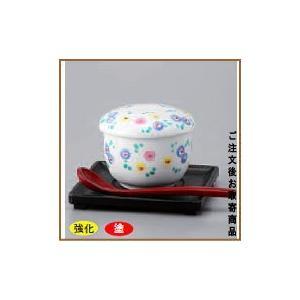 茶碗蒸し 器   錦ほほえみむし碗 (樹脂製受け皿& スプーン セット )  器は 日本製で 食洗機可能、電子レンジ可能  業務用/厨房用品/料理店用/陶器/器/和食 kokouki