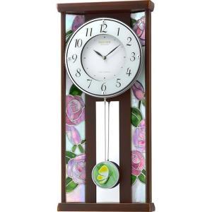 [文字入れ・名入れOK] 際立つ高級感のハイグレード・クロック 美しいステンドグラス使用 RHYTHM/リズム 電波時計/掛け時計 【RHG-M007】[送料無料]|kokuga-shop