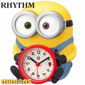 楽しく起きられるミニオンズのボブの目覚まし時計 インテリアにもおすすめ RHYTHM/リズム クォーツ時計/目覚まし時計 【ボブR30】[送料区分:A]|kokuga-shop