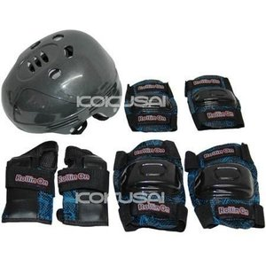 ジュニア用プロテクター4点セット ジュニア キッズ 子供 ヘルメット ニーパッド エルボパッド リストガード グレー