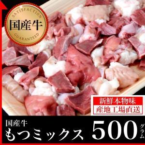 国産牛 もつミックス 500g/鹿児島 国産 薩摩 ホルモン  もつ鍋  BBQ 新鮮 牛肉 焼肉(kagoshimabeef) komachi-k