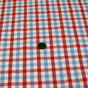 綿麻先染めワッシャー薄手生地(チェック 薄ブルー×赤)|komachi