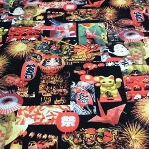 スケアー転写プリント(日本の祭り 黒)|komachi