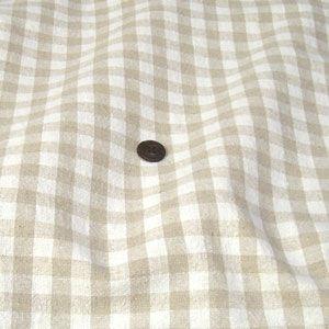 綿麻 生地 先染チェック(生成×ベージュ 約10mm)|komachi