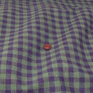 綿麻 生地 先染チェック(紺×グリーン 約10mm)|komachi