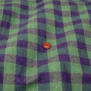 綿麻 生地 先染チェック(紺×グリーン 約24mm)|komachi
