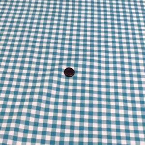 シーチングプリント(チェック 約7mm角 ブルーグリーン)|komachi