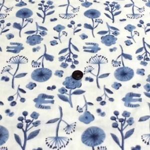 ダブルガーゼ(北欧風 鳥とお花 きなり×ブルー) komachi