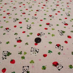 綿麻キャンバスプリント(パンダ)|komachi