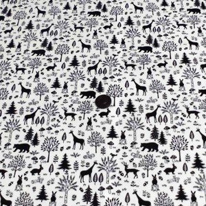 オックスプリント(森の動物 オフホワイト×黒)|komachi