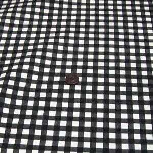 ツイルプリント(チェック 約8mm角 黒×アイボリー)|komachi