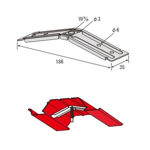 JFE QLデッキ用吊り元金具 3分用 赤とんぼ/200個単位|komaki5kin