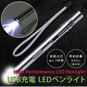 LED ペンライト USB充電式 ハンディライト キャンプ ...