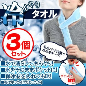 氷や保冷材を入れて超クール!冷んやりタオル 3個セット (sb)【送料無料】