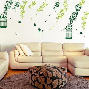貼ってはがせる簡単ウォールステッカー <緑葉と鳥かご>|komamono