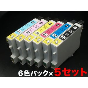 IC6CL32 エプソン用 IC32 互換インクカートリッジ 6色×5セット 6色セット ×5パック|komamono