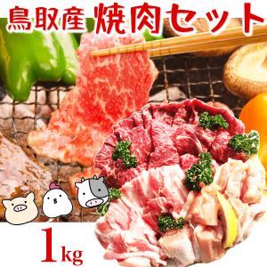 鳥取県産 焼肉セット 1kg(3〜5人前) 牛肉 豚肉 鶏肉 焼き肉 バーベキュー BBQ ファミリーセット たっぷり1キロ 送料無料|komatsuya-plan