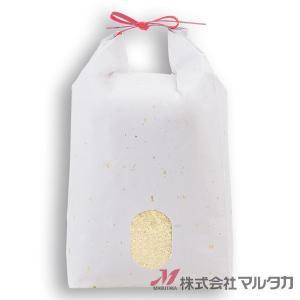 米袋 5kg用 無地 1ケース(300枚入) KH-0911 雲龍和紙 金銀(赤紐) 窓あり|komebukuro|02