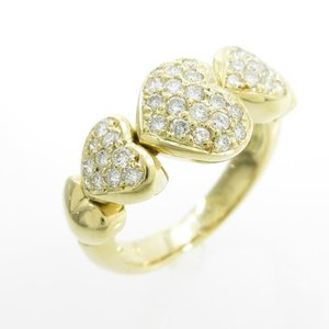 K18YG ハート パヴェ ダイヤモンドリング|komehyo