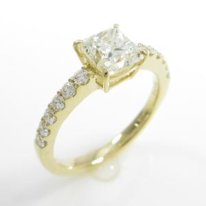 【リメイク】K18YG ダイヤモンドリング 1.020ct・K・SI1・プリンセスカット|komehyo