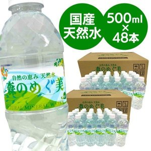 水 飲料水 ミネラルウォーター 500ml 48本 安い 送料無料 まとめ買い 森のめぐ美 ビクトリー 天然水 代引き不可 komenokura