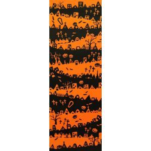手ぬぐい Halloween town 注染 てぬぐい 日本製 綿 タペストリー ハンカチ ハロウィン カボチャ NTE-012【メール便8点まで】|komesihci5