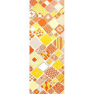手ぬぐい 捺染 プリント 日本製 和雑貨 Pattern Box イエロー オレンジ 黄 橙 幾何学 Airashika あいらしか TE-2003-00【メール便8点まで】|komesihci5