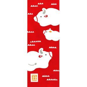 Airashika(あいらしか) 和雑貨 注染手ぬぐい『親子丑』 干支 丑年 34×90cmの商品画像|ナビ