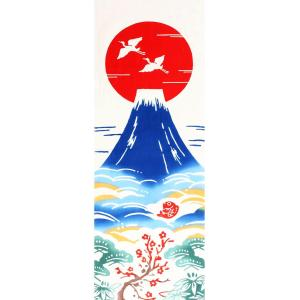手ぬぐい 初日の出 正月 元旦 鶴 縁起 冬 本染 注染 日本製 和雑貨 Airashika あいらしか TE-6006-01【メール便6点まで】|komesihci5