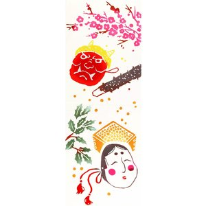 手ぬぐい 節分 豆まき 鬼 福 本染 注染 日本製 和雑貨 Airashika あいらしか TE-6008-01【メール便6点まで】|komesihci5