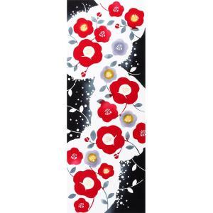 手ぬぐい 寒椿 睦月 冬 花 雪 額縁 本染 注染 日本製 和雑貨 Airashika あいらしかTE-6012-03【メール便6点まで】 komesihci5