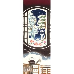 手ぬぐい 雪窓 円窓 冬 和室 椿 雪 本染 注染 日本製 和雑貨 Airashika あいらしか TE-7035-01【メール便6点まで】|komesihci5