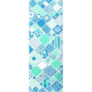 手ぬぐい 捺染 プリント 日本製 和雑貨 Pattern Box ブルー 青 幾何学 Airashika あいらしか TE-8014-00【メール便8点まで】|komesihci5