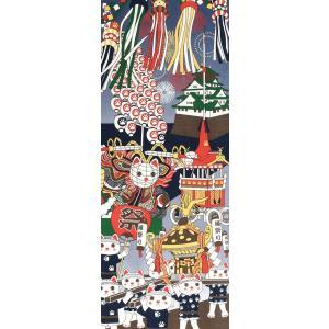 手ぬぐい お祭り 猫 ネコ ねこ 縁起物 ヤギセイ てぬぐい 捺染 片面染め 日本製 手拭い YST-019【メール便6点まで】 komesihci5