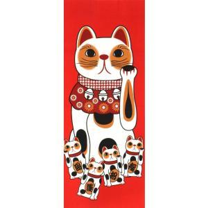 手ぬぐい 招き猫 赤 幸福 ネコ 猫 ヤギセイ てぬぐい 捺染 片面染め 日本製  手拭い YST-026【メール便6点まで】 komesihci5