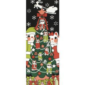 手ぬぐい クリスマス ネコ 猫 ヤギセイ てぬぐい 捺染 片面染め 日本製  手拭い YST-045【メール便6点まで】 komesihci5
