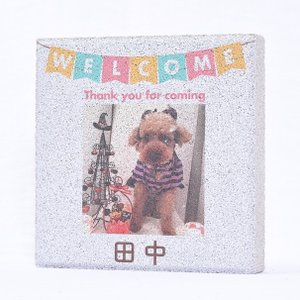 【ペット写真入り表札】平板ブロック ウェルカムペットA 〈商品番号 H200-P1〉|komochi-store