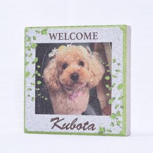 【ペット写真入り表札】平板ブロック ウェルカムペットB 〈商品番号 H200-P2〉|komochi-store
