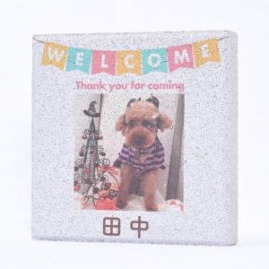 【ペット写真入り表札】平板ブロック ウェルカムペットA 〈商品番号 H300-P1〉|komochi-store