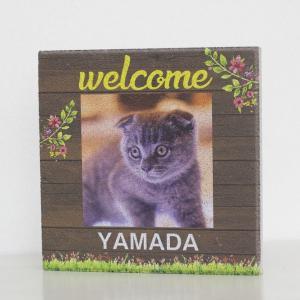 【ペット写真入り表札】平板ブロック ウェルカムペットI 〈商品番号 H300-P9〉|komochi-store