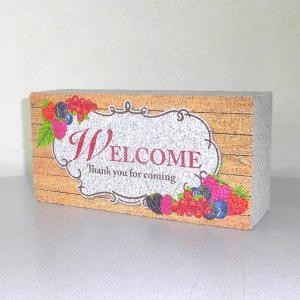【ガーデンサイン】レンガブロック 花ウェルカム 〈商品番号 R-G26〉|komochi-store