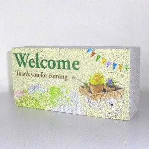 【ガーデンサイン】レンガブロック フラッグ Welcome 〈商品番号 R-G27〉|komochi-store